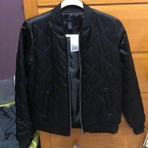 Forever 21 Quilted Black Bomber Jacket